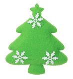 Christmas Tree with snowflakes fabric decoration on the tree Stock Image