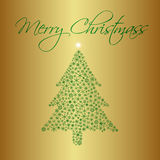 Christmas tree from snowflakes on gold background greetings cards eps10 Stock Images