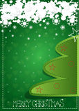 Christmas tree. With snowflakes on green background Royalty Free Illustration
