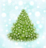 Christmas Tree with Snowflakes. Illustration Christmas Tree with Snowflakes on Blue Shine Background - Vector Royalty Free Stock Image