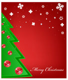 Christmas tree and snowflakes Stock Images