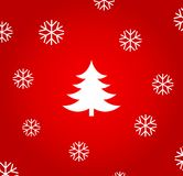 Christmas tree and snowflakes on red background Stock Photography
