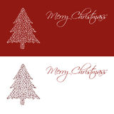 Christmas tree from snowflakes red and white greetings cards eps10 Royalty Free Stock Image