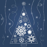 Christmas tree with snowflakes and ribbons blue. Vector illustration EPS 10 Royalty Free Stock Image