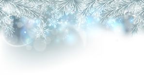 Christmas Tree Snowflakes Background. Christmas tree and snowflakes silver snow and ice crystals abstract background Royalty Free Stock Image