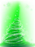 Christmas tree with snowflakes, vector. Mesh gradient,  place for text Royalty Free Stock Image