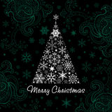 Christmas tree of Snowflakes. Vector background. Christmas Design elements. Christmas tree of snowflakes Royalty Free Stock Photo