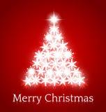 Christmas tree from snowflakes Stock Photos
