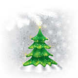 Christmas tree and snowflakes on a white Royalty Free Stock Photography