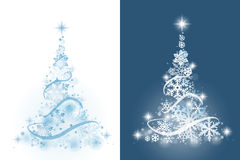 Christmas tree from snowflakes. On white and blue background Royalty Free Stock Photo