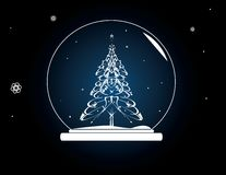 Christmas tree snowglobe. On a blue background royalty free illustration
