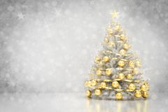 Christmas tree. Snowing and glitter background Stock Image