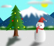Christmas tree and snowman Stock Images