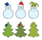 Christmas tree and snowman. Vector illustration - a set of labels a Christmas tree and snowman vector illustration