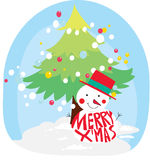Christmas tree and snowman Royalty Free Stock Photos