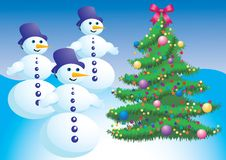Christmas tree and snowman. Stock Photos