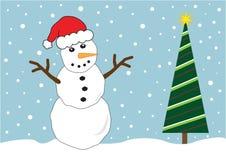 Christmas Tree Snowman. Holiday snowman and christmas tree vector illustration