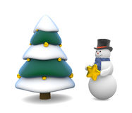 Christmas tree and snowman Stock Photography