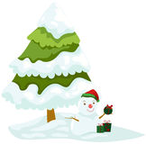 Christmas tree with snowman Stock Images