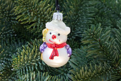 Christmas tree with snowman Royalty Free Stock Photo
