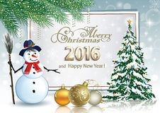 Christmas tree with snowman 2016. Christmas tree with snowman on the background of the billboard royalty free illustration
