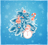 Christmas tree and snowman. On a blue background Royalty Free Stock Images