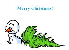 Christmas tree snowman character cartoon Royalty Free Stock Photo