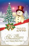 2018 Christmas tree and a snowman. On a background of snowflakes and nature Royalty Free Stock Image