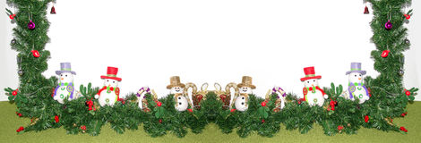 Christmas tree and snowman decoration. Botton banner stock images