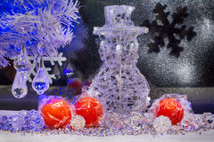 Christmas tree, snowman and decoration. wallpaper. Stock Image