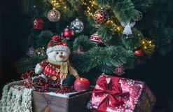 Christmas tree with snowman decorations stock images