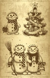 Christmas tree and snowman drawn by hand Stock Images