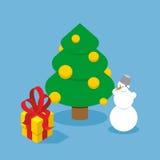Christmas Tree and snowman. Gift box. Holiday tree adorned  Royalty Free Stock Photo