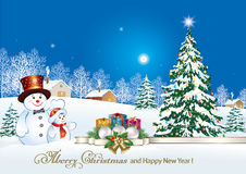 Christmas tree with snowman and gift boxes. On a background of a winter landscape vector illustration