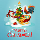 Christmas tree, snowman, gift greeting card design Royalty Free Stock Images