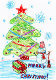 Christmas tree and snowman with gifts, child drawing Royalty Free Stock Image