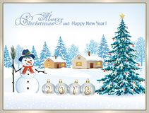 Christmas tree with a snowman. New Year tree with a snowman on a winter landscape background Royalty Free Stock Images