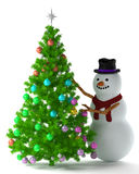 Christmas tree and snowman. On white Stock Photos
