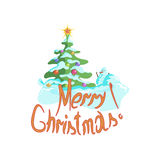 Christmas tree with a snowman on a white background. Christmas, vector illustration Stock Illustration