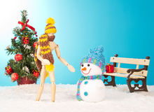 Christmas tree with snowman Royalty Free Stock Image
