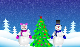 Christmas tree and snowmans in fir tree forest Stock Image