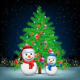 Christmas tree snowmans and night city. Christmas tree and snowmans night city background. Spruce fir tree with toys ribbons and cones in branches. Winter Royalty Free Stock Photography