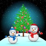 Christmas tree and snowmans on snow hill. Spruce fir tree with toys ribbons and cones in branches. Winter holiday night ilustration Stock Images