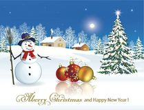 Happy New Year 2019.Christmas Tree with snowmen. Christmas Tree with snowmen against the background of the winter landscape royalty free illustration