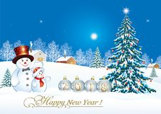 Happy New Year 2018. Christmas tree with snowmen. Christmas tree with snowmen on the background of a winter landscape vector illustration