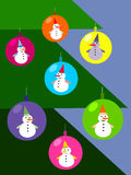 Christmas tree with snowmen decoration Royalty Free Stock Images
