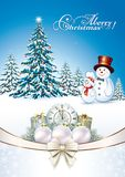 Merry Christmas. Christmas tree and snowmen with gift boxes and  clock Royalty Free Stock Images
