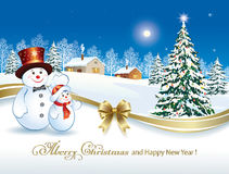 Christmas tree with snowmen. On a winter landscape Stock Photos