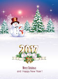 Christmas tree with snowmen Royalty Free Stock Images