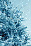 Christmas tree and snowstorm stock images